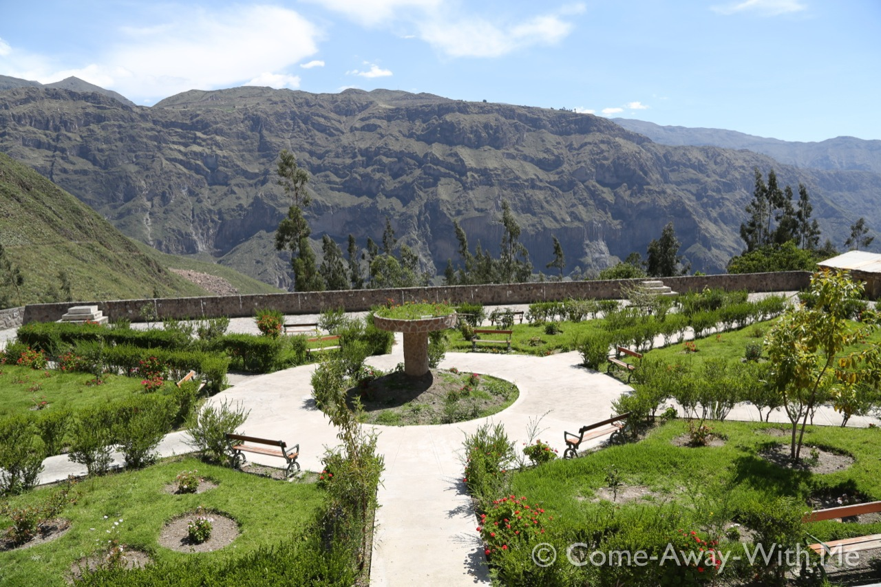 An out-of-nowhere small park in Tapay, Cabanaconde is on the other side at the top